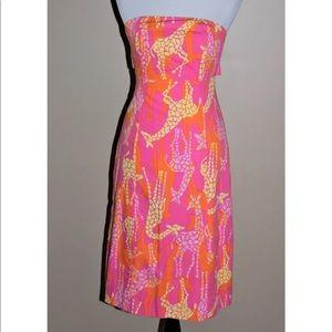 Lilly Pulitzer Dress Size 0 Pink Giraffe Print
